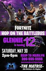 Fortnite Birthday Party Invitation